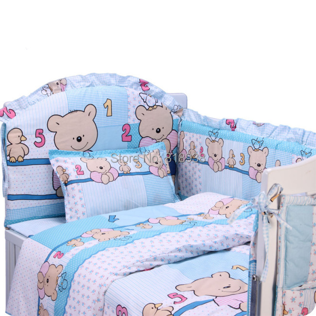 5 PCS Baby bedding set For girl Kitty Mickey character crib bedding set 100% cotton baby bedclothes bumpers<br><br>Aliexpress