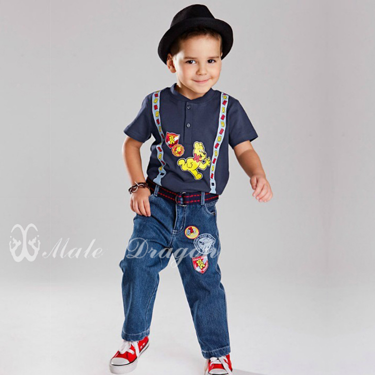 2014 child summer cartoon printed straps short-sleeve top + casual jeans set childrens outerwear clothes kids casual suits<br><br>Aliexpress