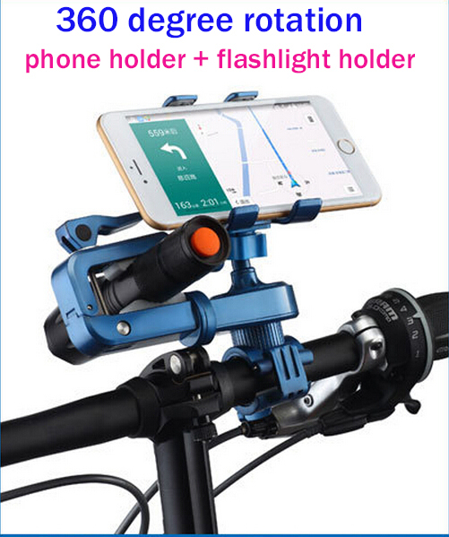 2015 new Cycling Bike Bicycle Mobile Phone Holder+flashlight holder Bike Handle Phone Cell Phone Support for iphone 6 5s 5 Case(China (Mainland))