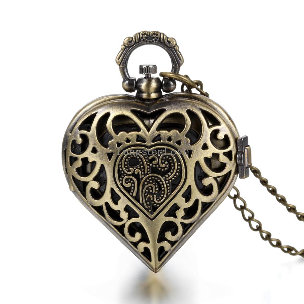 Vintage Fashion Unique steampunk watch Hollow Out Cover Heart Shape Pendant Pocket Watch Long Chain Necklace for Women Gift 80cm(China (Mainland))