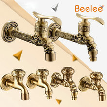Beelee Antique Copper Single Cold Washing Machine Dedicated Faucet Mop Pool Extended Into The Wall Quick Opening Retro Faucets(China (Mainland))