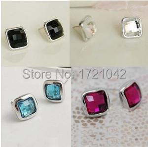 2014 Elegant Fashion imitation gemstone Square Crystal  earrings woman Free shipping<br><br>Aliexpress