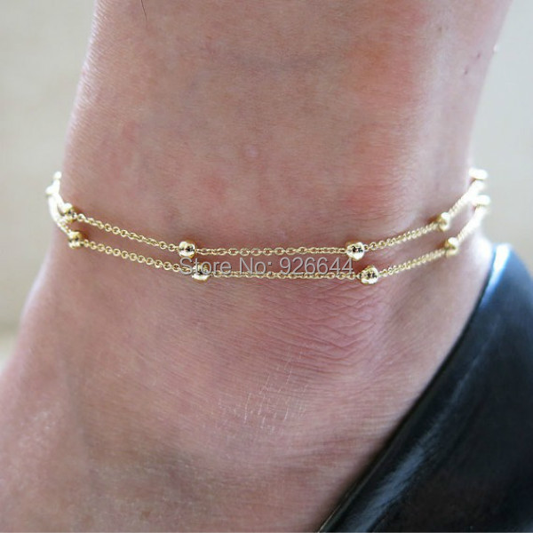 2015 Free Shipping New Sexy Barefoot Beach Fashion Double Chain Foot Chain Anklet Bracelet Jewelry(China (Mainland))