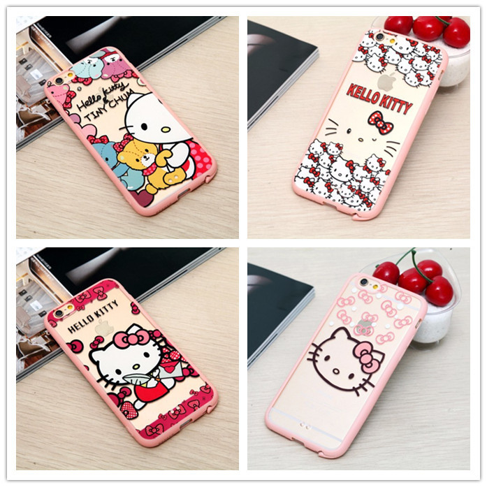 Lovely Cute Carcasa Cartoon fashion Hello kitty Minnie pink soft edge for iphone 6 4.7 cover for case iphone 6 cases back cover(China (Mainland))