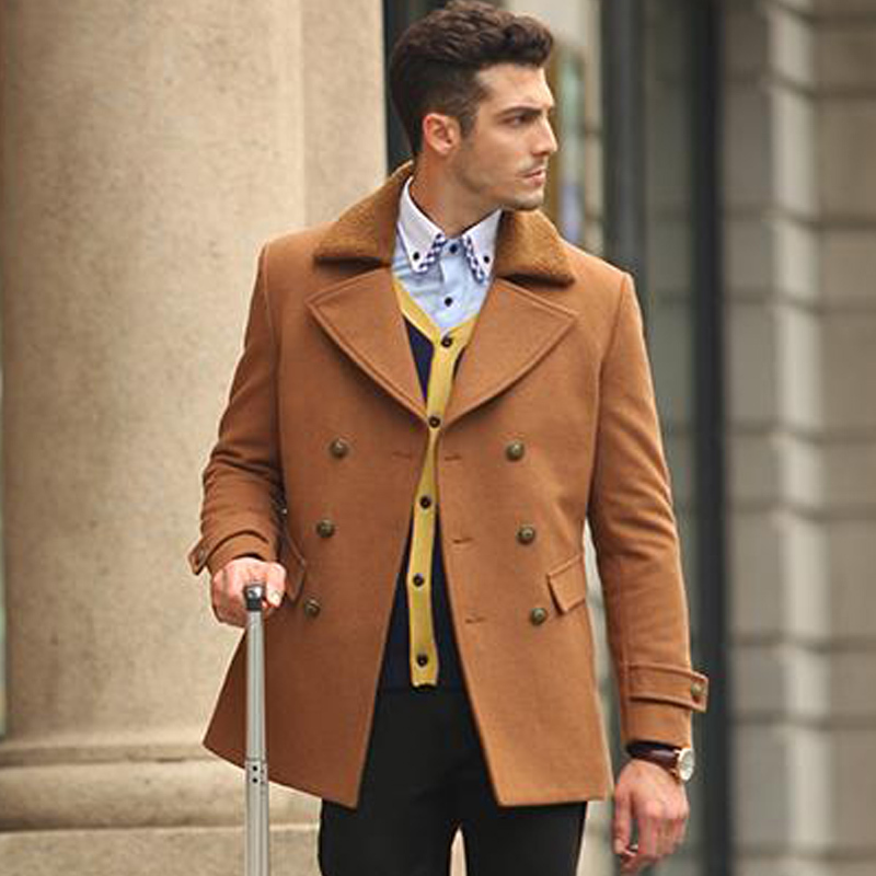 Autumn Winter Fashion Business Formal Camel Woolen Thick Warm Coat , British Style Double British Buttons Wool Jackets For Man(China (Mainland))