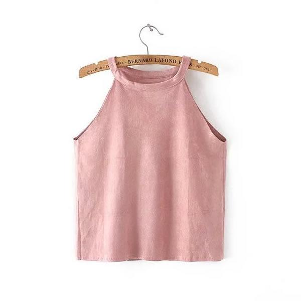 leather suede ukraine cropped feminino off shoulder crop top sleeveless women femme summer sexy black white pink gray tank Camis(China (Mainland))