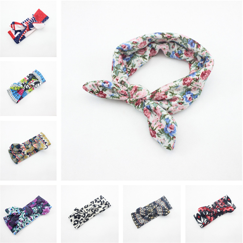 Multicolor Rabbit ear Print flower Headband Baby Girl hairband for cute elastic turban headbands kid bands hair band accessories(China (Mainland))