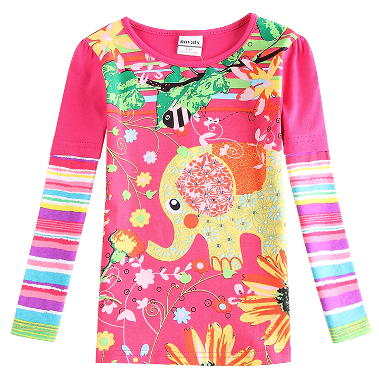 2015 Top Limited Kids Spiderman Children Clothing Girls T Shirt Printing Cartoon Elephant In Spring Sleeve Shirts For Baby F5117(China (Mainland))