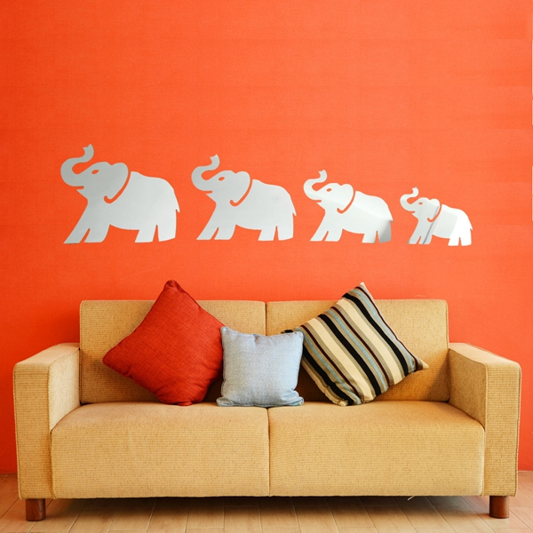 Excellent Quality DIY 3D Mirror Four Cute Elephants Wall Stickers Home Decor Art Decal Acrylic Lowest Price