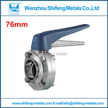 3'' Sanitary butterfly valve. plastic blue handle butterfly valve.Stainless Steel Butterfly Valve.sms304.Connector weld(China (Mainland))
