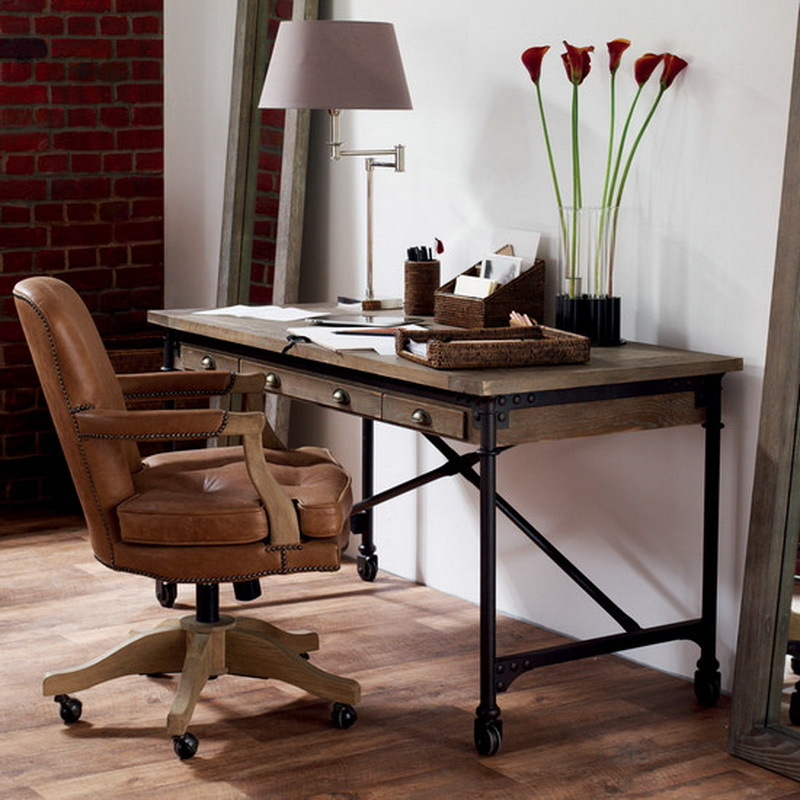Nordic american country to do the old retro wood desk - Retro office desk ...