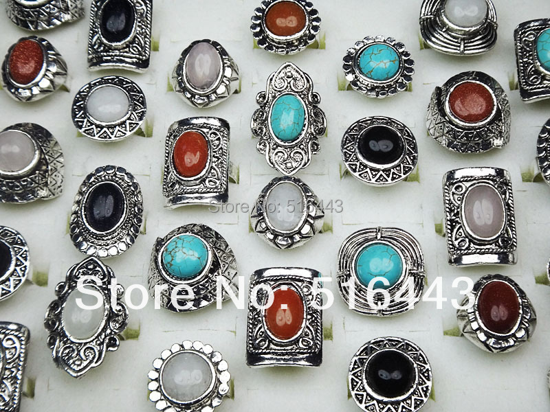 Hot Sale 30pcs Wholesale Jewelry Lots Mix Natural Stones Antique Silver Plated Women Mens Adjustable Vintage Rings A-152<br><br>Aliexpress