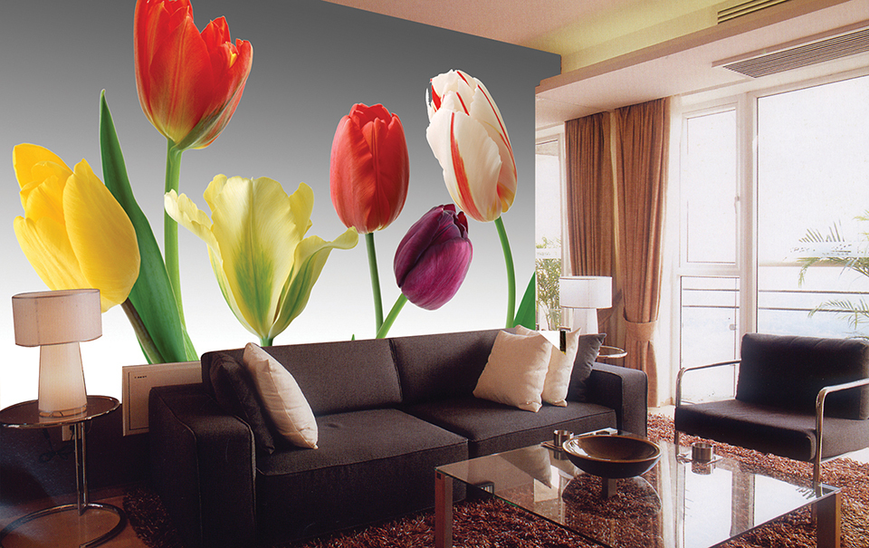 2015 hot sale real cuadros oil painting tulip flower for Red flower wallpaper living room
