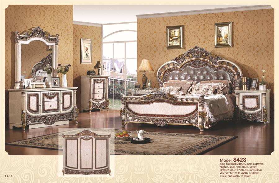8428 Luxury Bedrom Euro Desgine Bedroom Furniture 6 Pcs Per Set King Size In Antique Furniture