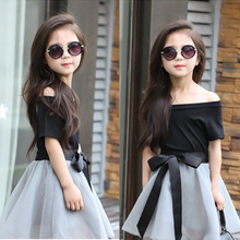 2016 Hot New summer Girls skirt set, fashion black short-sleeved T-shirt + Bow skirt 2 piece set ,girls tutu skirt clothing sets