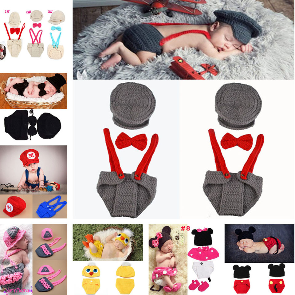 Baby Boy Gentleman Set Hat Bow Tie and Diaper Photography Props Crochet Infant Boy Photo Props Newborn Pilot Costume MZS-14033(China (Mainland))