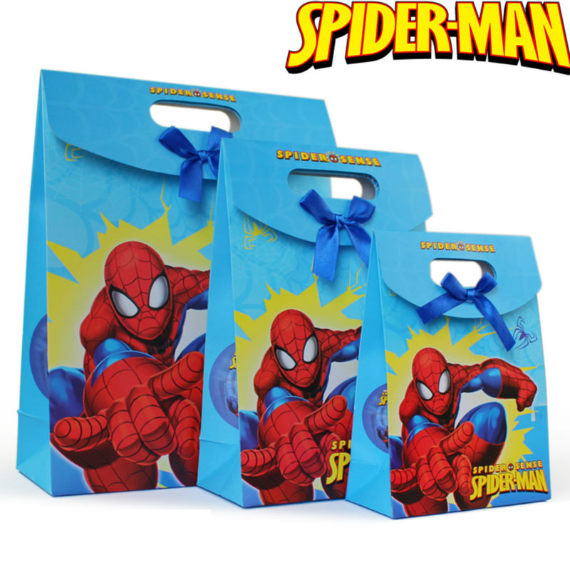 12pcs/lot Cartoon Spiderman Paper Shopping Bag For Gift Shop Baby Boys Birthday Gift Packaging Bags(China (Mainland))