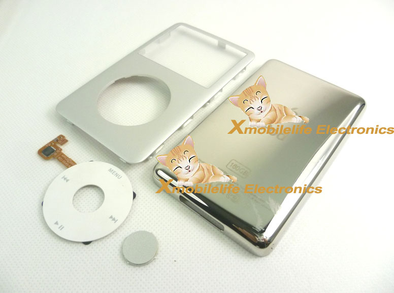 Silver Front Faceplate Fascia Back Rear Housing Case Cover White Clickwheel Button Key for iPod 7th Gen Classic Thin 160GB