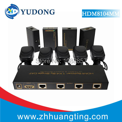 HDMI Splitter 1X4 HDMI Extender 60m 1 to 4 HDMI Splitter over cat5e,cat6 with 1 hdmi input 4 RJ45 output Full HD1080p(China (Mainland))