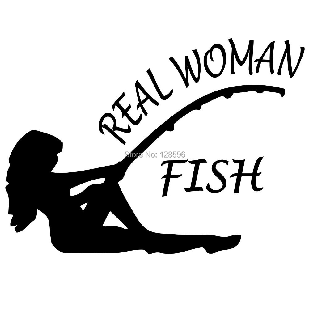 Real woman fish hunting fishing trout salmon bass sticker for Hunting and fishing decals