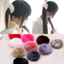 Buy 10pcs/lot Korean Cute Trendy Warm Soft Fake Rabbit Fur Woman Elastic Hair Rope Bands Girls Hair Accessories Rubber Band Headwear for $5.50 in AliExpress store