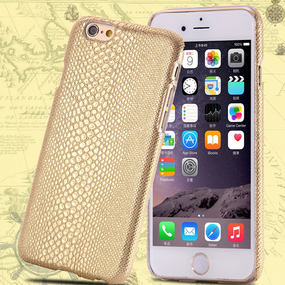 Brown Gold Luxury Retro Lizard Skin Hard Plastic Case Apple iPhone 6 4.7 inch Ultra Thin Protective Back Cover - RCD Trading Company store