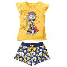 Girls Summer Casual Clothes Set Children Short Sleeve Cartoon T shirt Short Pants Sport Suits 2015