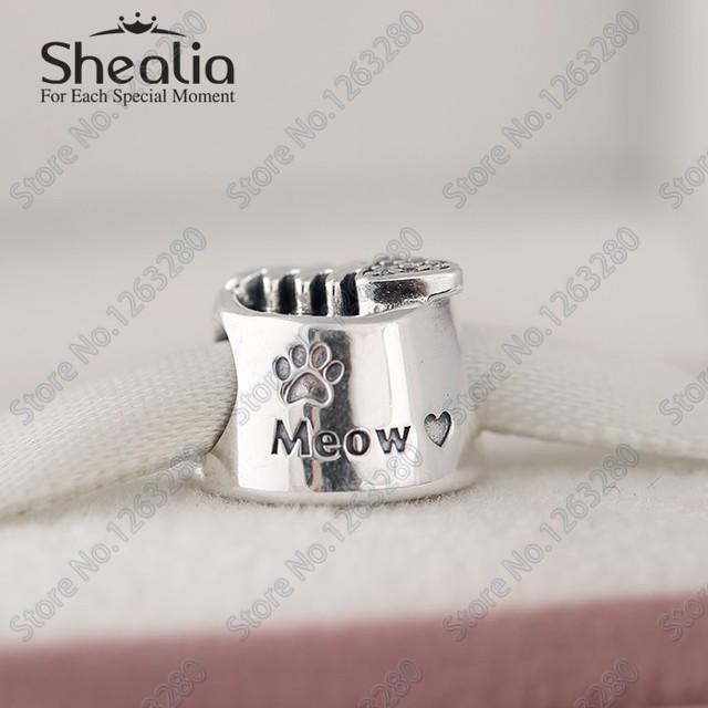 Рыба кость мяу бусины с камнями осень животное бусины 925 чистое серебро Shealia ювелирные изделия Fit своими руками браслеты BD261