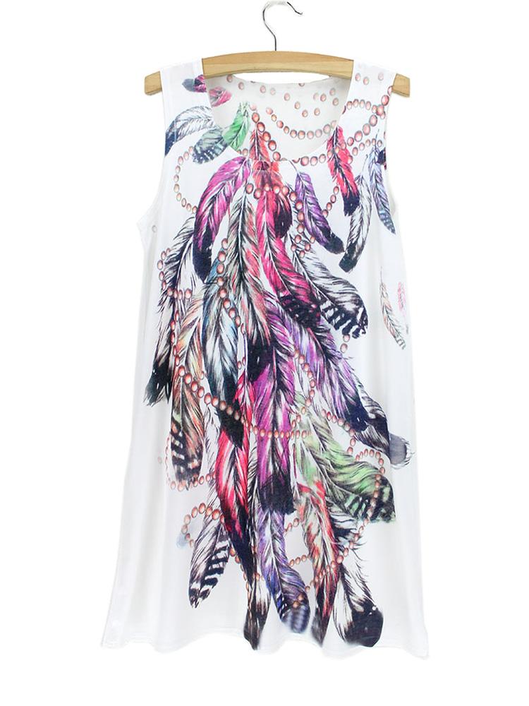 Novelty Vogue feather pattern tank dress women 2014 summer design dresses ladies & girls fashion gift clothing wholesale price(China (Mainland))