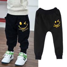 Hot Wholesale New Children Kids Autumn Winter Pants Casual Pocket Boys Girls Smiling Faces Harem Pants Trousers 4-10Y(China (Mainland))