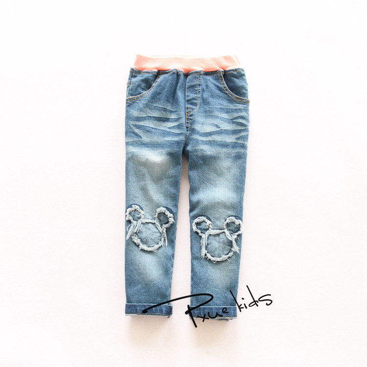 2015Top sale autumn new all-match cute cartoon patch girls jeans pants Korean childrens clothing wholesale trade K801630<br><br>Aliexpress