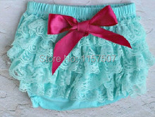 Lovely Baby Aqua Petti Lace Bloomers with Hot Pink Bow , Diaper Covers for Infant & Toddler Girls(China (Mainland))