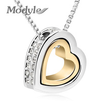 Modyle Brand Gold Plated Austrian Crystal Luxury Brand Heart Necklaces & Pendants Fashion Jewelry for Women 2016