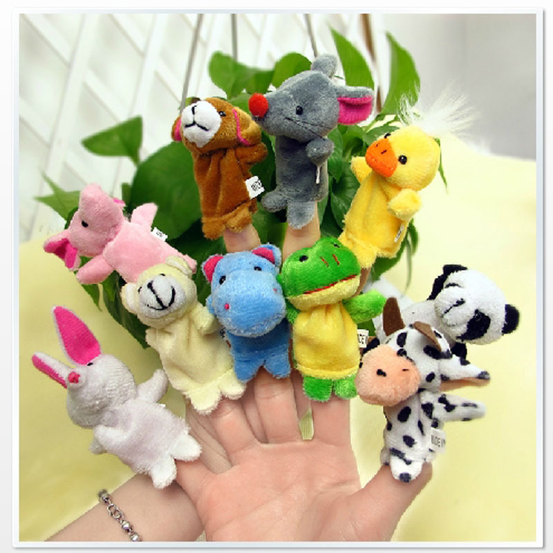 New 2015 Free Shipping 10pcs/lot Baby Plush Toy,Finger Puppets,Talking Props Stylish Finger Doll,Baby Dolls(10 animal group)(China (Mainland))