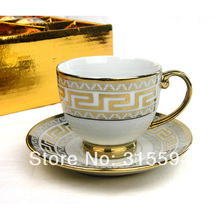 New arrival!! High quality superwhite porcelain 100CC set of 6 espresso cups & saucers in golden metallic color