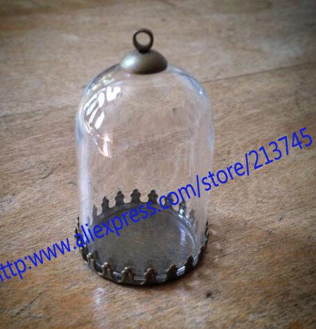 Free ship!!! ! NEW 10sets/lot 38*25mm glass globe & setting base & cap set glass cover DIY Glass vial jewelry glass bottle(China (Mainland))