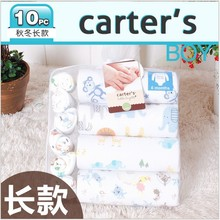 10 pcs/pack, Original carter's long sleeve wiggle-in rompers + towels,carters newborn baby boys & girls gift ,infant jumpsuit(China (Mainland))