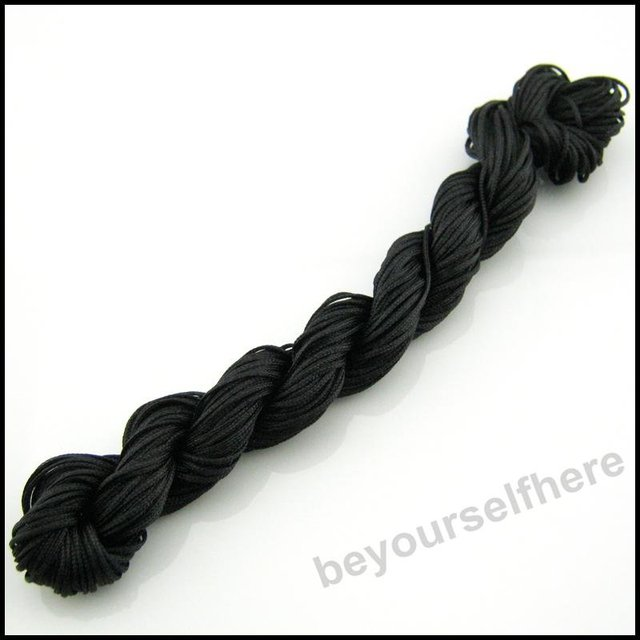 20trolls/lot X09 Wholesale New 1mm Black Nylon Rattail Cords Knotting Bracelet Beading Handcrafts 27m/troll