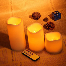 Romantic 3Pcs/set wireless remote control candle operated led flameless candles bougie Light for Wedding Party Club Birthday(China (Mainland))