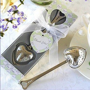 wedding favor heart tea infuser in tea time gift box bridal shower party favor gifts valentine birthday presents free shipping(China (Mainland))