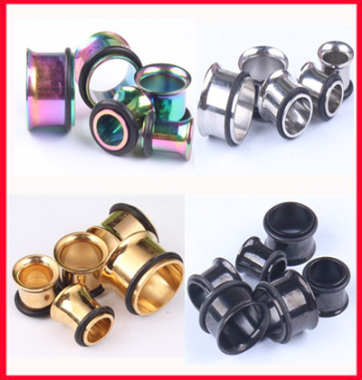 Fashion flesh tunnel(F18) Free shipping mix 4 color (3-14mm) 256pcs/lot stainless steel body piercing jewerly ear plug  tunnel<br>