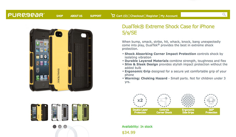 Puregear Premium Outdoor DualTek Extreme Anti Shock Case Shell for iPhone SE/5s with Retail Packaging Free Shipping