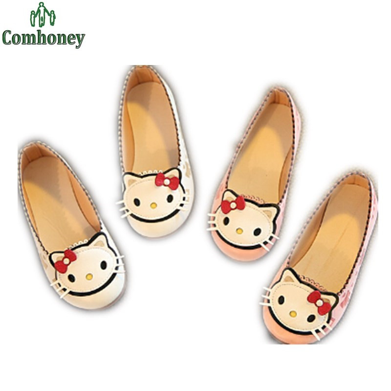 Children Hello Kitty Leather Flat Shoes Girls Cartoon Sneakers Sweet Bunny Ballet Flats Toddler Girls Footwear Chaussure Enfant(China (Mainland))