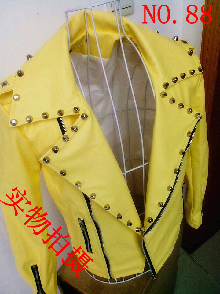 Free shipping Ds personality men fashion rivet leather clothing costume men motorcycle clothing / S-XXL(China (Mainland))
