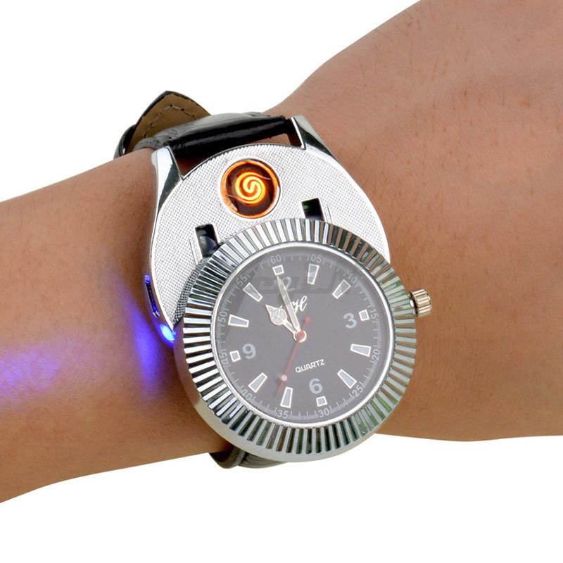 2015 Novelty Gift USB Men Lighter Watch Mens Casual Quartz Wrist Watches Quartz-watches with Windproof Cigarette Lighter -P00<br><br>Aliexpress