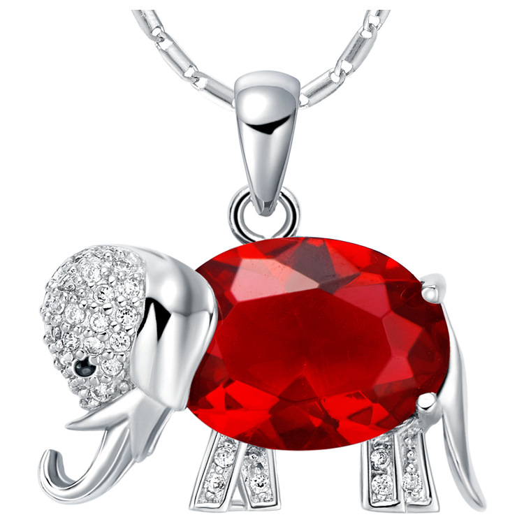 2014 NEW SILVER JEWELRY ! 24k white gold plated red animal crystal jewel Pendant roll chain women/girl Fshion necklace MLB095(China (Mainland))