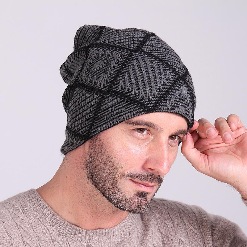 2017 New Arrival Beanies With Scarf Knitted Hat Men's Winter Hats For Men Caps Warm Moto Fur Winter Beanie Fleece Knit Bonnet