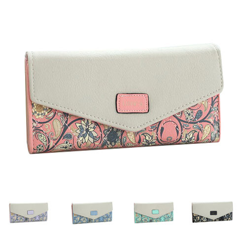New 2015 Floral Women Wallet Flower Long Wallets Trendy Portable Change Purse Delicate Casual Lady Cash Purse(China (Mainland))