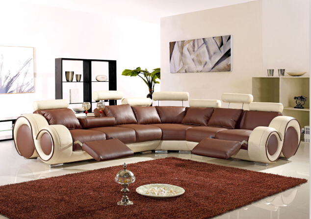 Sectional sofa l shape sofa set designs with Top grain leather Brown&Beige(China (Mainland))