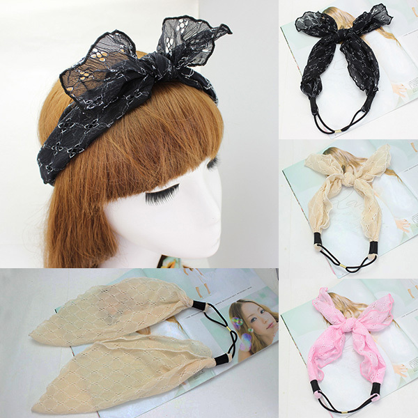 Wholesale12pcs Lace Ears Headband 2015 Ladies Up Knot Elastic Hairband Stretchy Headwrap New Women's Hair Accessories(China (Mainland))